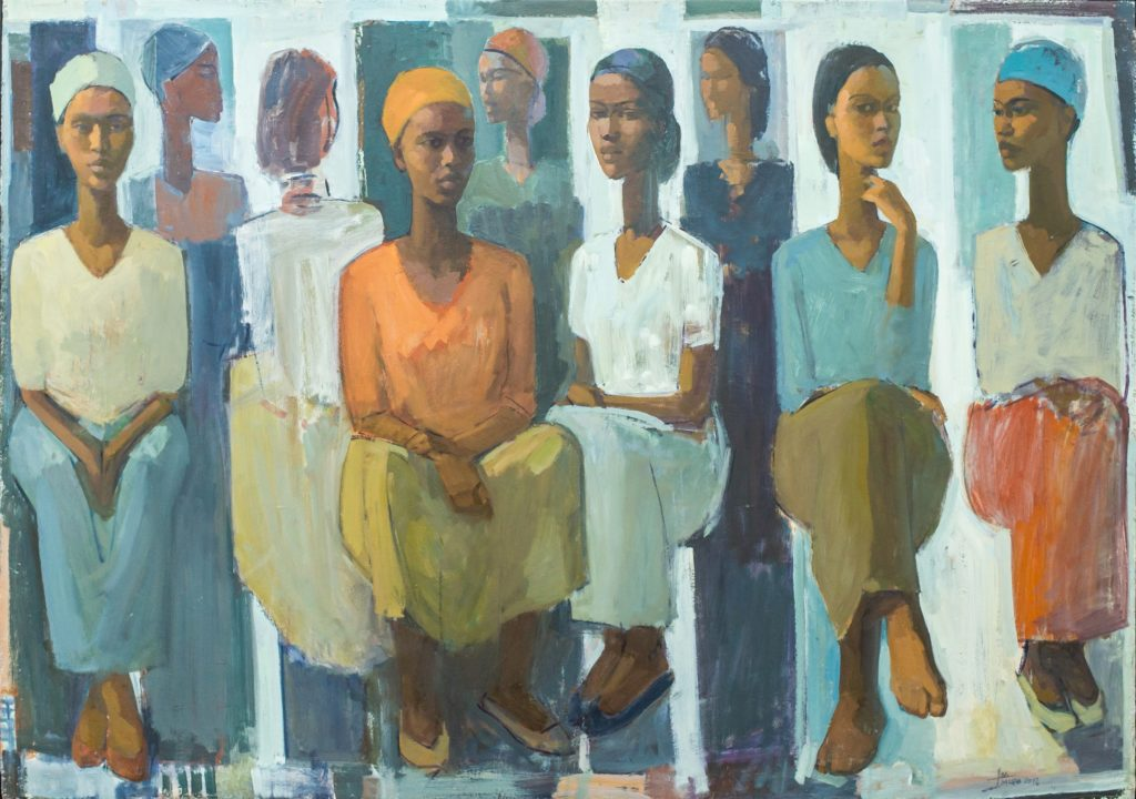 Tadesse Mesfin, Pillars of Life: Market Day (2018). Courtesy Addis Fine Art.